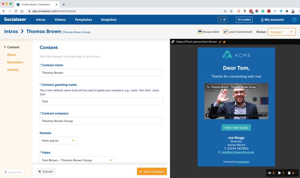 Socialaser Intros editing screen