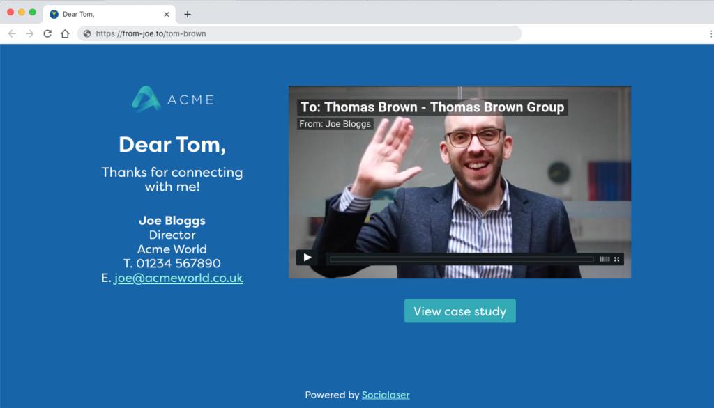 Socialaser Personalised Video Landing Page